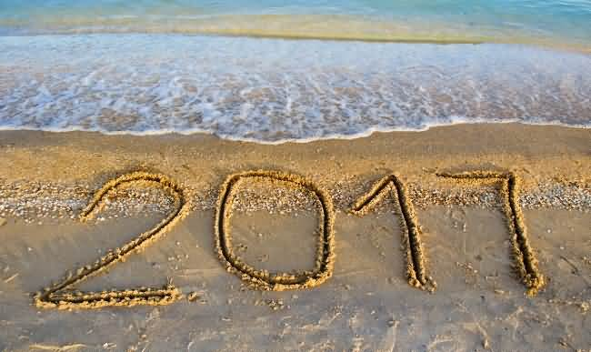 Happy New Year Celebrate On Beach Wishes Image