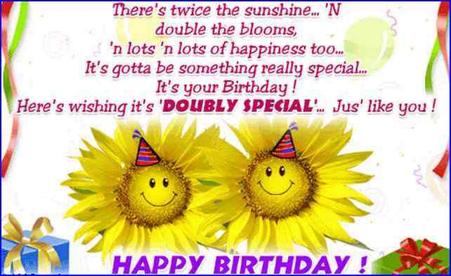 Here's Wishing It's Doubly Special Happy Birthday Wishes Image
