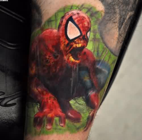 Horror Zombie Spiderman Tattoo