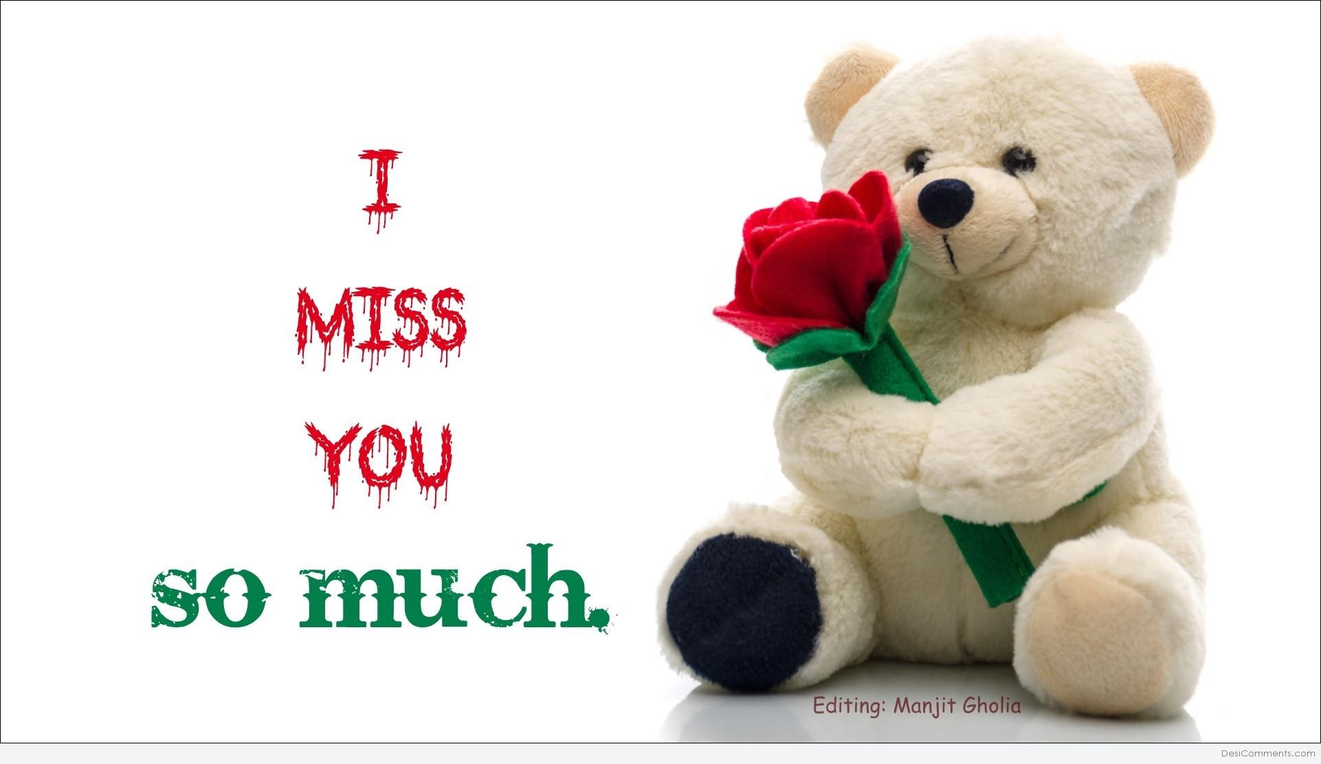 I Miss You So Much Teddy Wishes Greeting Image