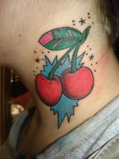 Impressive Blue Green And Red Color Ink Cherry Tattoo Design For Neck For Girls