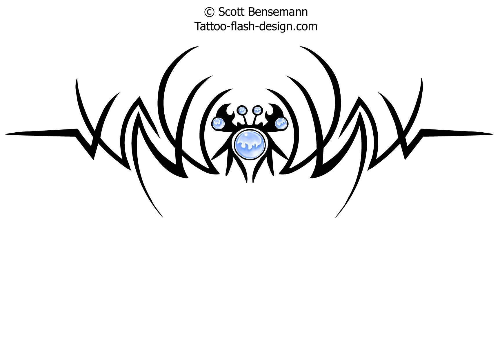 Incredible Black And Blue Color Ink Tribal Crab Tattoo Design For Girls