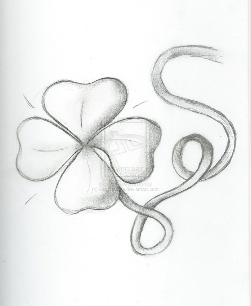 incredible black color ink four leaf clover tattoo drawing for boy