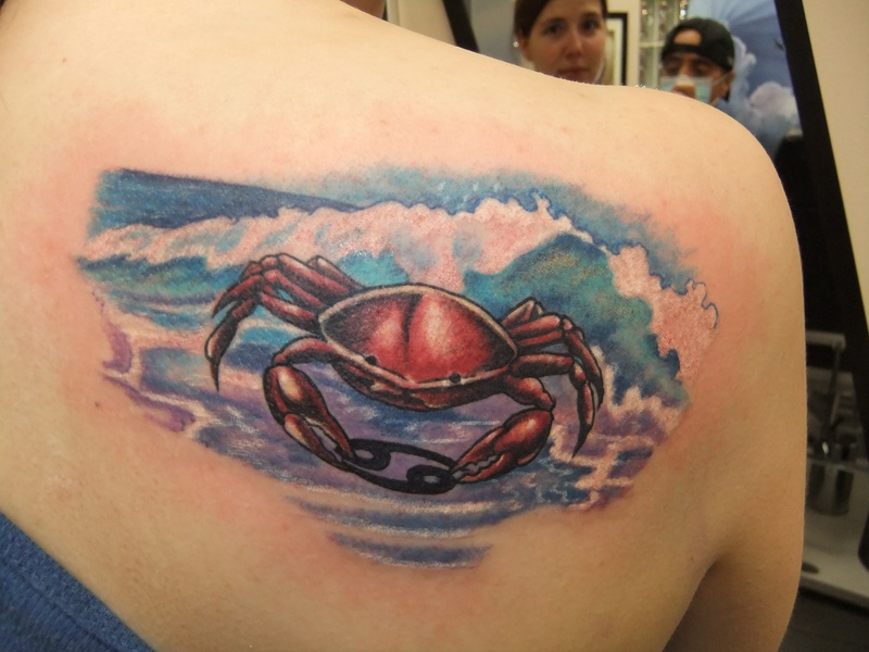 Innovative Blue White Red And Black Color Ink Underwater Cancer Crab Tattoo On Shoulder Back For Girls