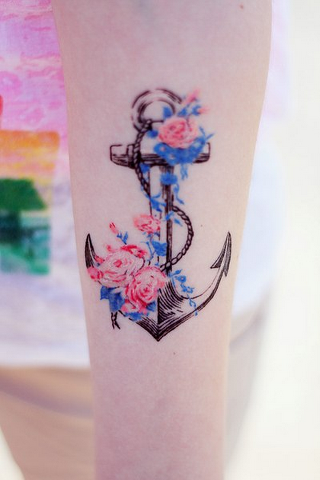 Inspirational Blue White And Red Color Ink Anchor Tattoo With Flowers On Girl Arm