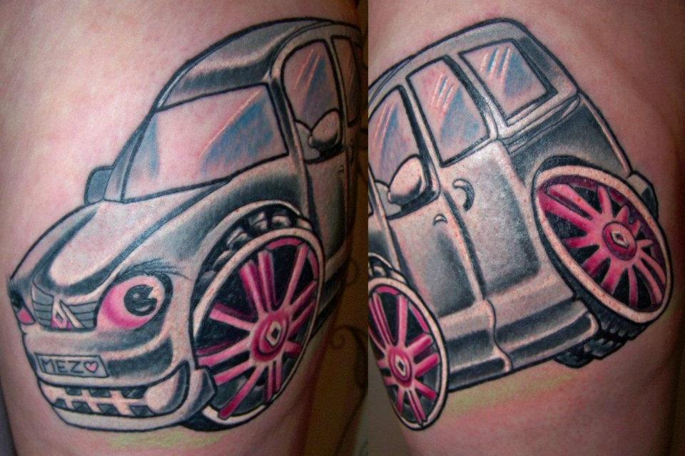 Latest Black And Pink Color Ink Wheel Car Tattoo Design On Leg For Girls