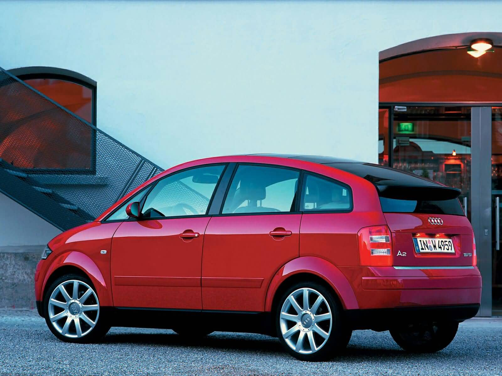 Left side view of nice red Audi A2 Car