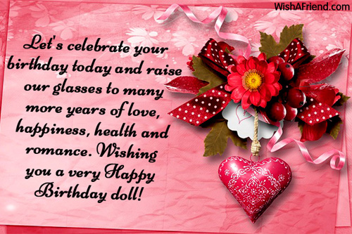 Let's Celebrate Your Birthday Wishing You A Very Happy Birthday Doll Greeting Image