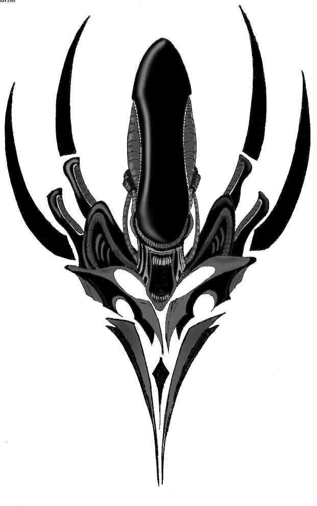 Lovely Black Color Ink Alien Tattoo Design For Boys Only