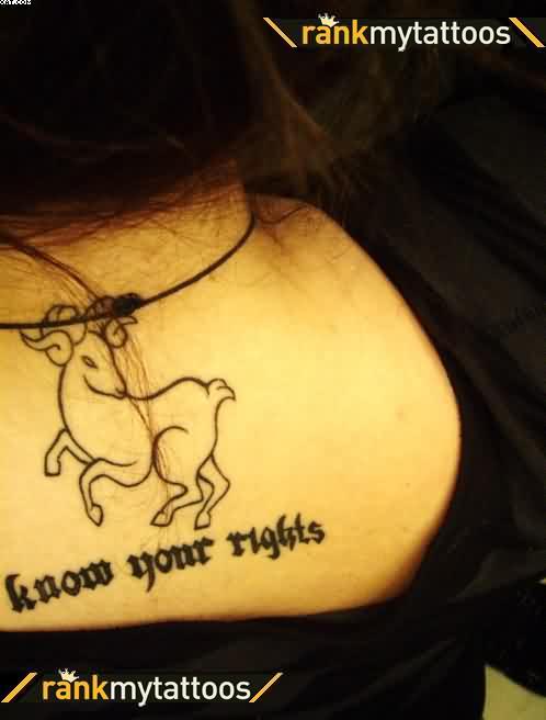 Lovely Black Color Ink Outline Aries Tattoo On Upper Back For Girls
