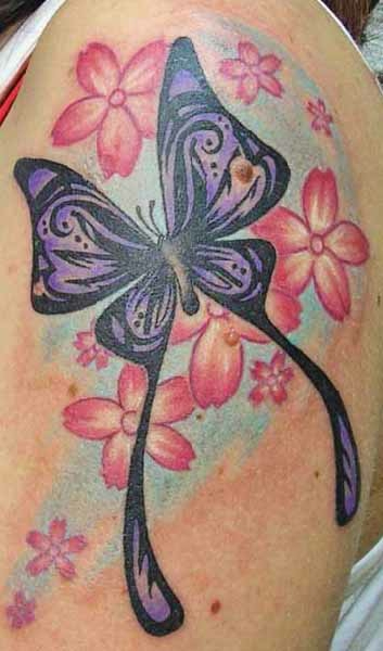 Lovely Butterfly With Flowers Tattoo Design