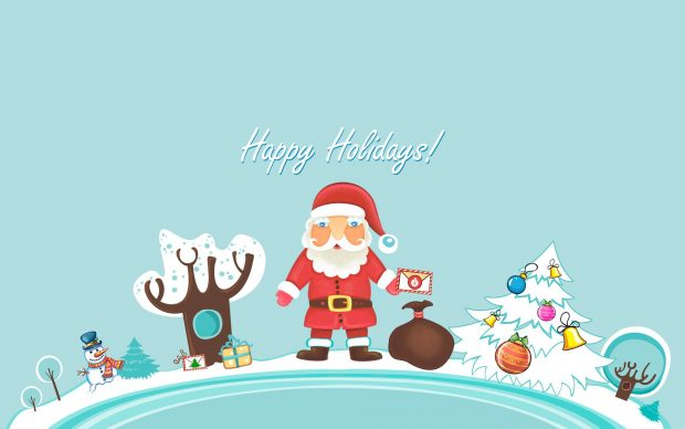 Lovely Santa Claus Happy Holiday Wishes Image