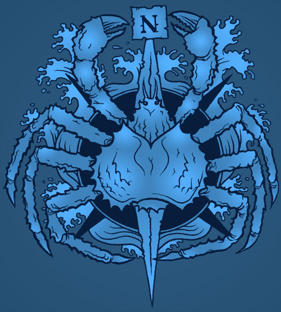 Maori Blue And Black Color Ink Lovely Crab Tattoo Picture For Girls