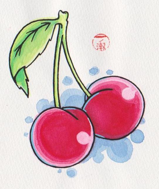 Marvel Green And Red Color Ink Red Cherries Tattoo Design For Girls