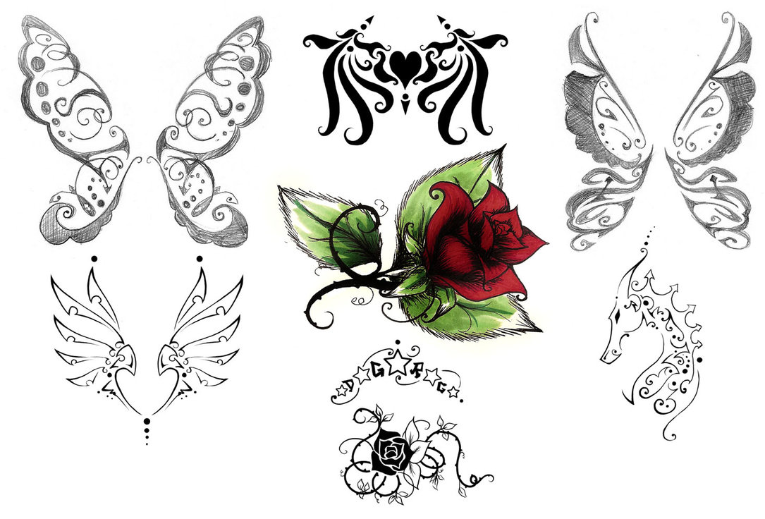 Marvel Green Black And Red Color Ink More Butterflies Tattoo Designs For Girls