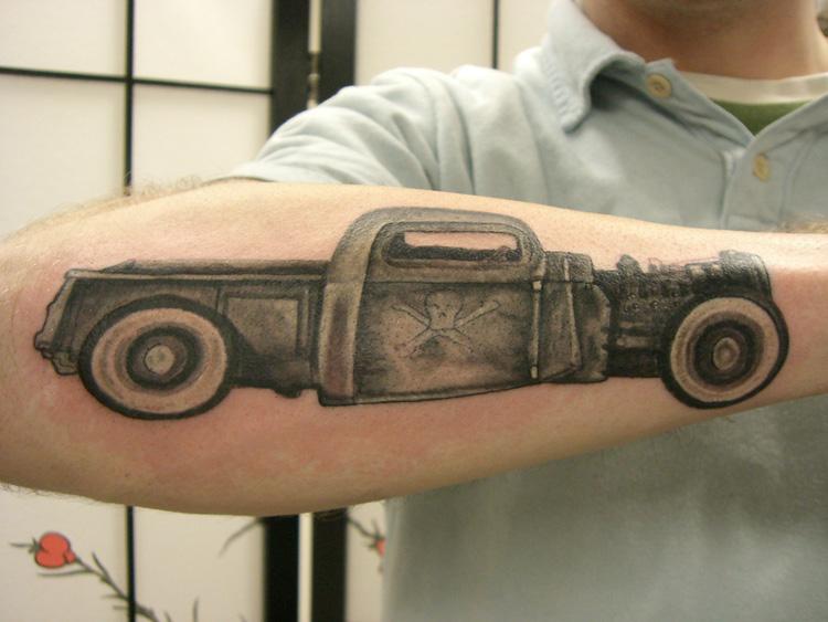 Marvelous Black Color Ink Danger Sign Car Tattoo On Forearm For Boys