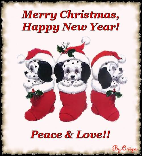 Merry Christmas Happy New Year Peace Love Image