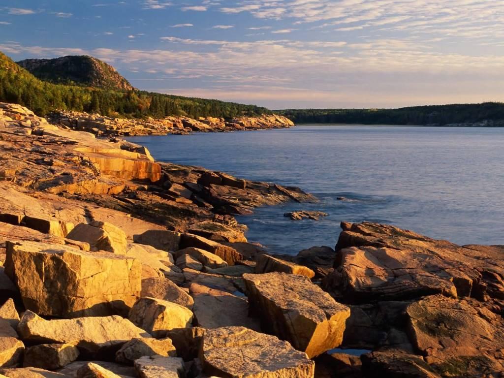 Most Amazing First Light Near Otter Cliffs Acadia National Park Maine 4K Wallpaper