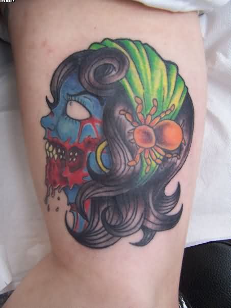Most Dashing Gypsy Zombie Tattoo On Muscles On Arm For Female