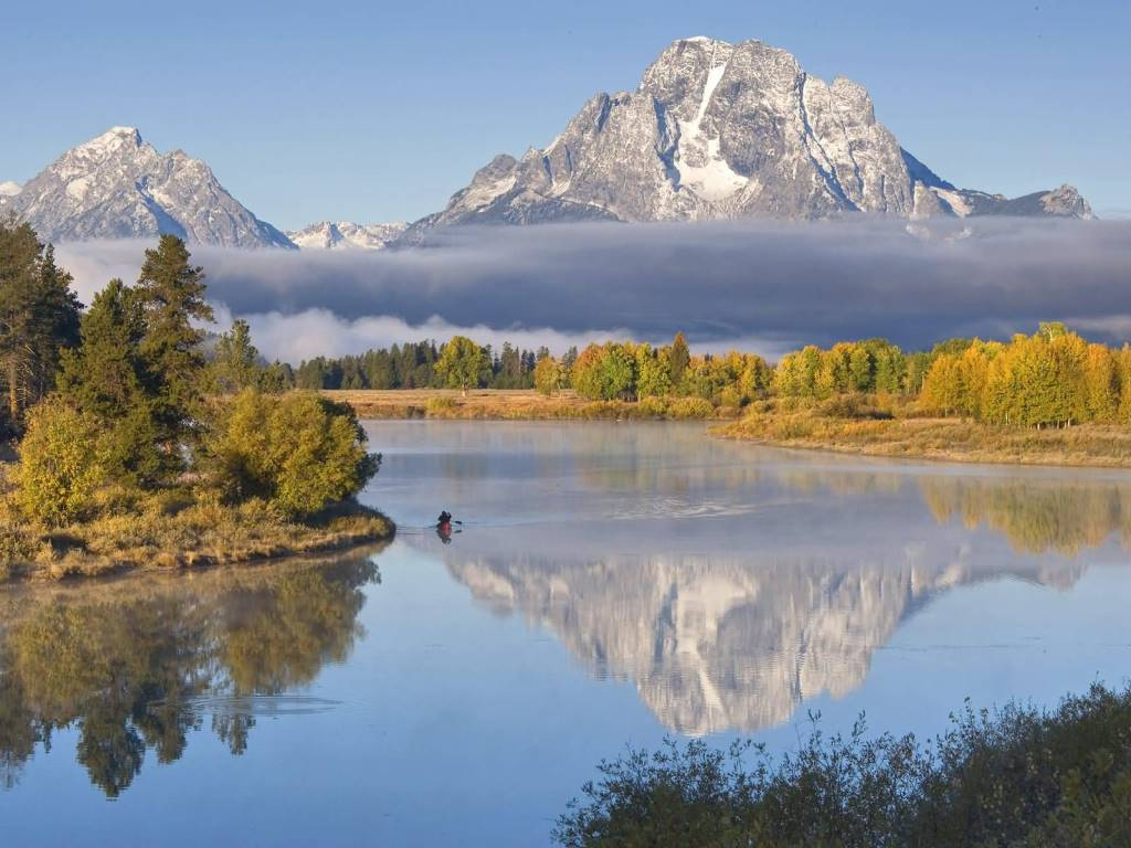 Most Dashing Oxbow Canoe Oxbow Bend Grand Teton National Park Wyoming 4K Wallpaper