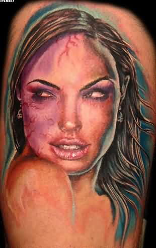 Most Elegant Celebrity Zombie Tattoo With Colorful Ink
