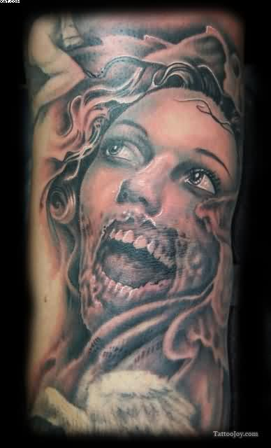 Most Inspirational Zombie Angel Tattoo Image