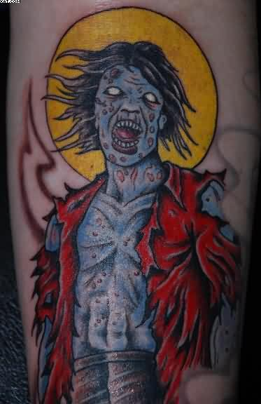 Most Wonderful Cartoon Zombie Tattoo With Colorful Ink