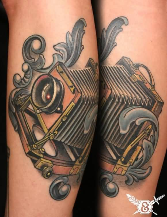 Motivational Black And Red Color Ink Classic Vintage Camera Tattoo On Arm For Girls