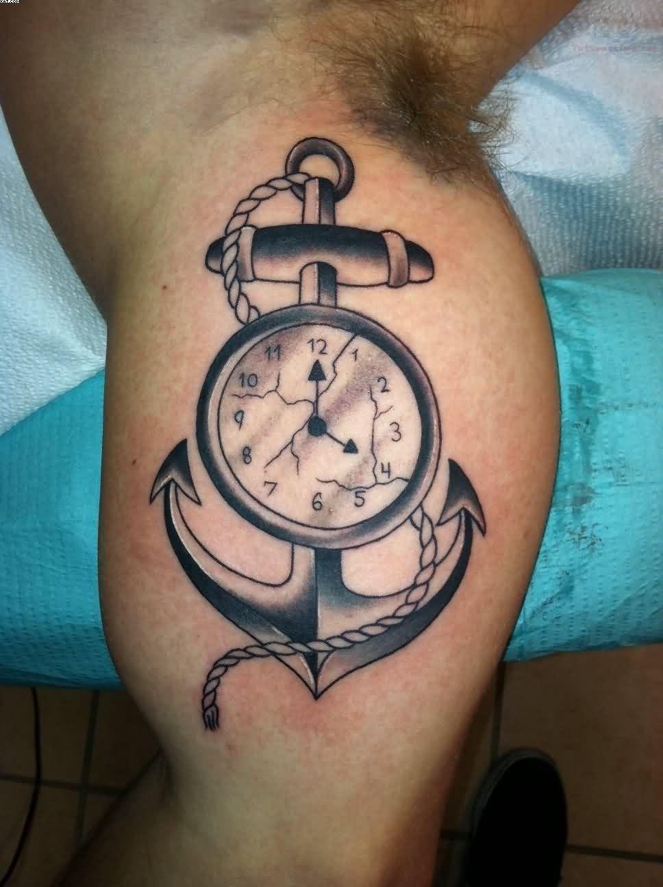 Motivational Black Color Ink Anchor Clock Tattoo On Boy Arm