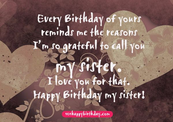 My Sister I Love You For That Happy Birthday