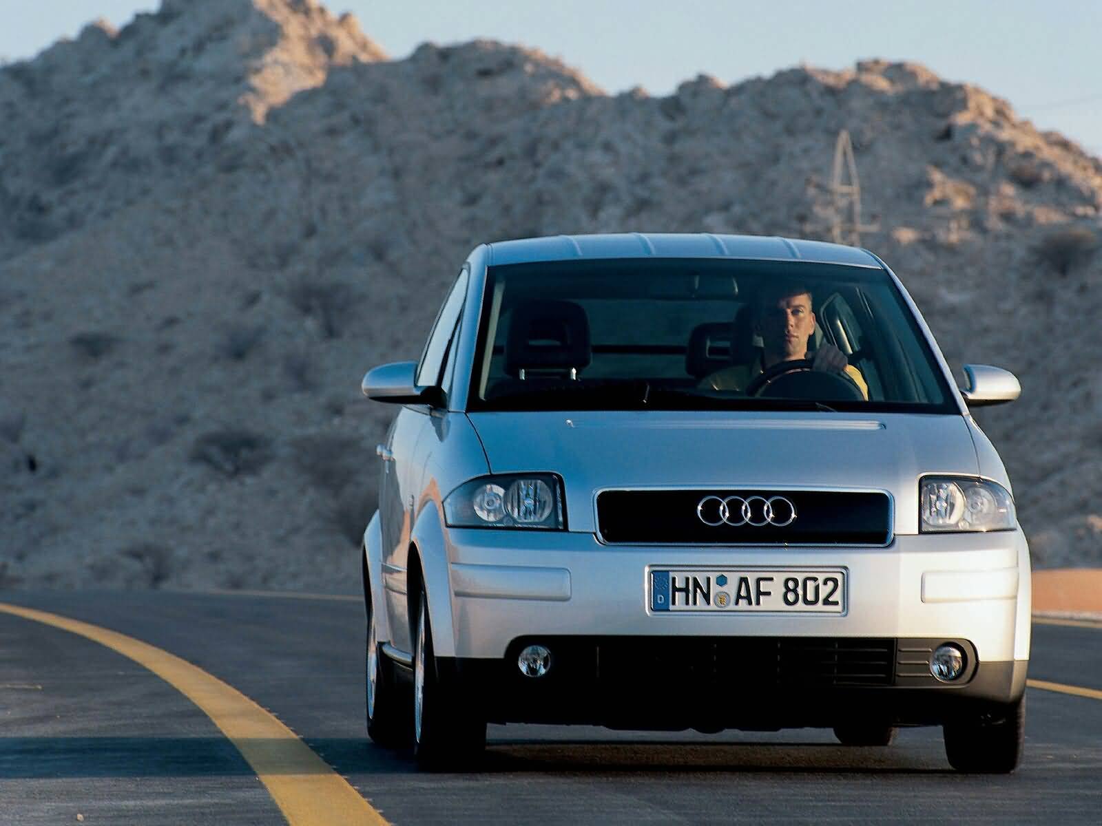 On the road of silver Audi A2 Car