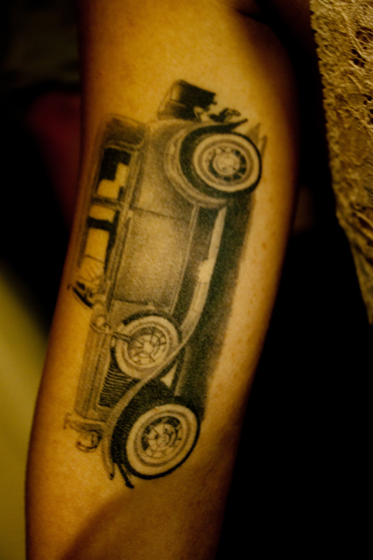 Perfect Black Color Ink Another Car Tattoo On Arm For Girls