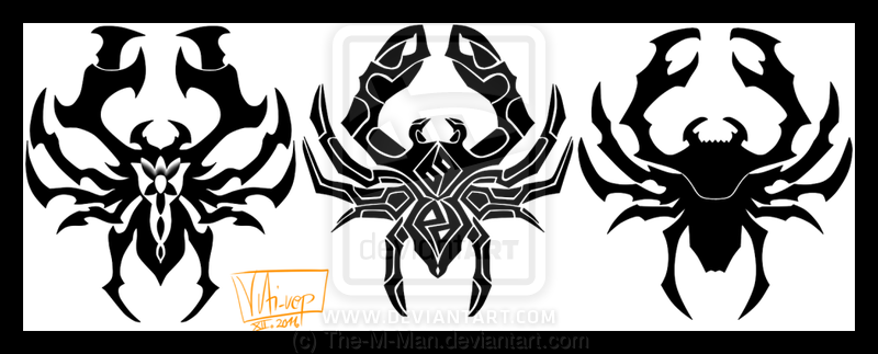 Perfect Black Color Ink Spider Crab Tattoo Designs For Boys