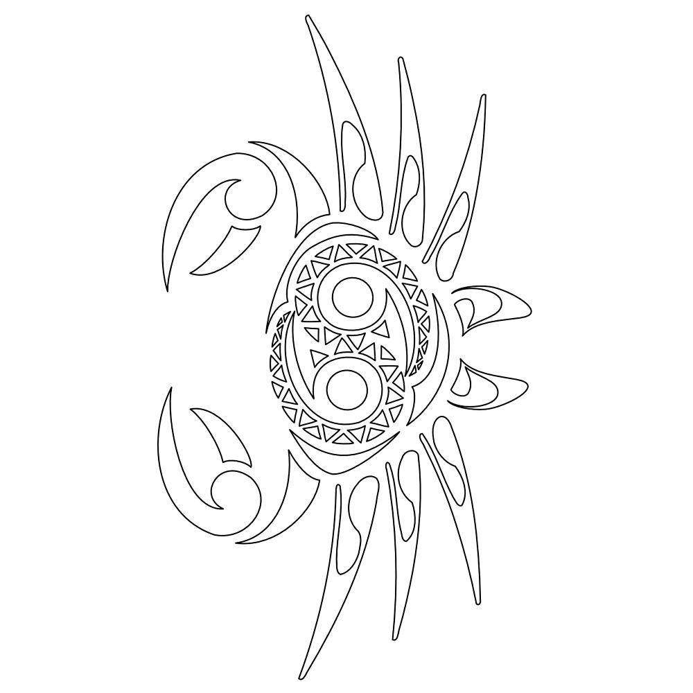 Realisitic Black Color Ink Maori Crab Cancer Stencil For Boys