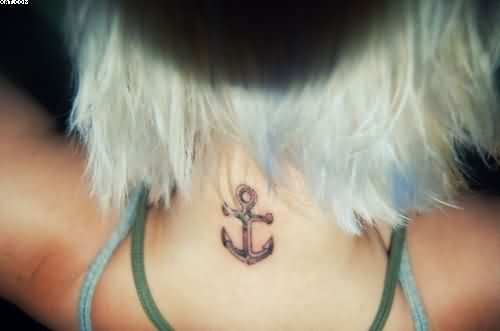 Sensation Red Light Color Ink Anchor Small Tattoo On Neck Back For Girls