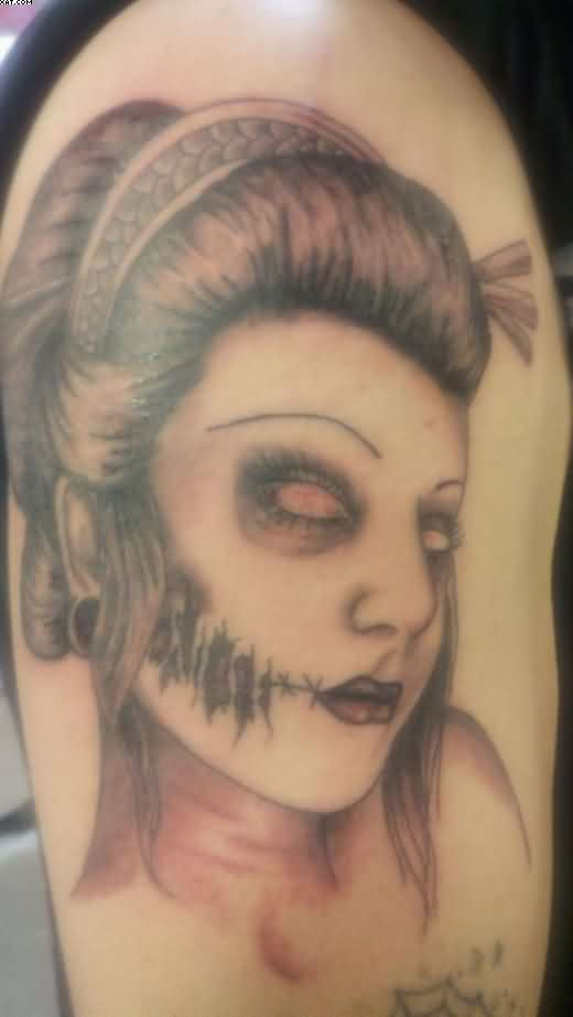 Shocking Zombie Girl Tattoo On Arm For Guys