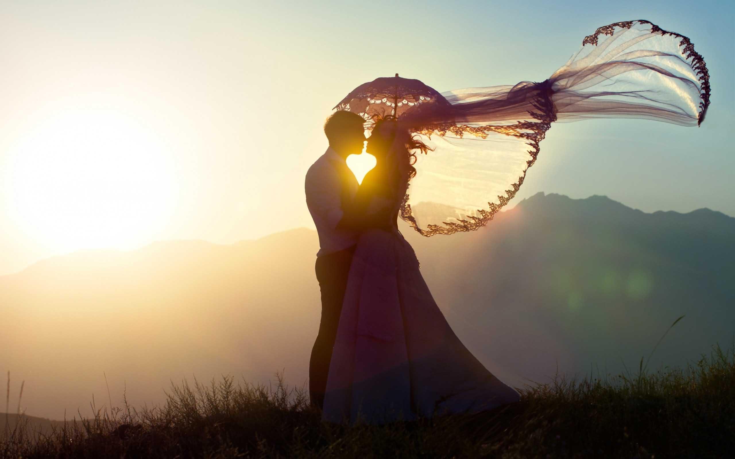 Sunset Wedding Couple Wallpaper