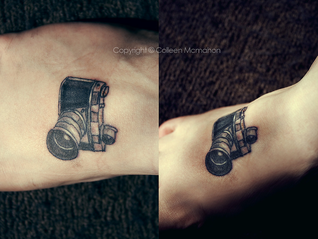 Sweet Black Color Ink Camera Foot Tattoo Image On Arm For Girls