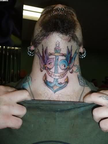Sweet Blue And Red Light Color Ink Anchor Tattoo With Swallows Banner On Neck For Boys