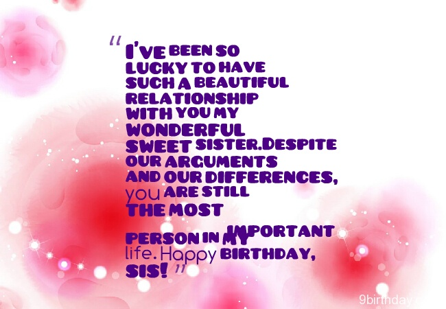 Sweet Sister Birthday Message Wishes Image