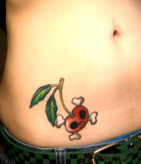 Sweet White Green And Red Color Ink Skull Cherry Tattoo Design On Rib For Girls