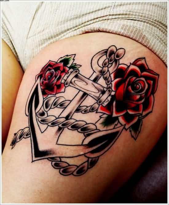 Terrific Red And Black Color Ink Anchor Tattoo With Roses & Rope On Girl's Thigh