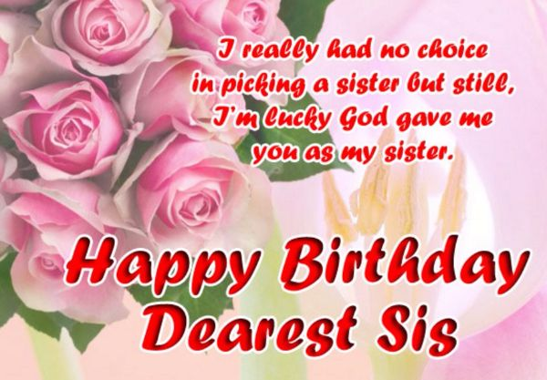 To My Dearest Sister Happy Birthday Message