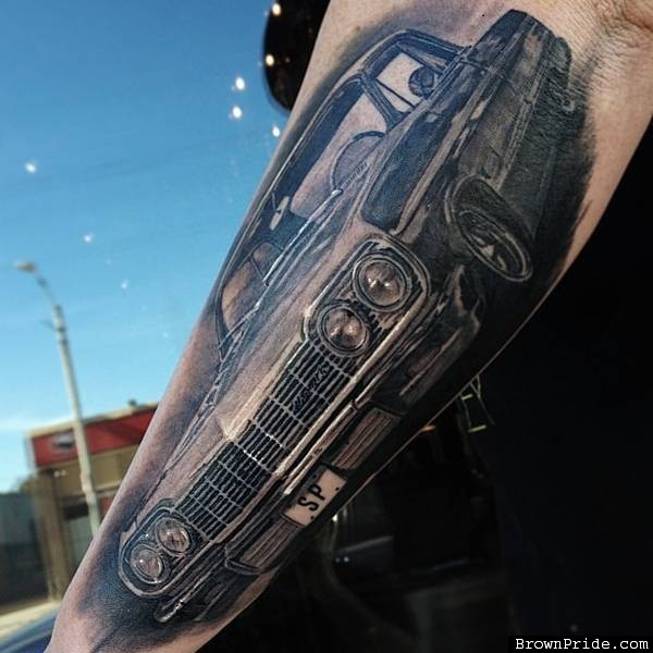 Trendy Black Color Ink Chevy Low Rider Car Tattoo Design On Arm For Boys