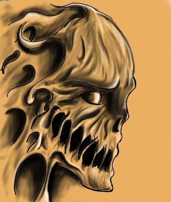 Trendy Golden Color Ink Flaming Alien Skull Face Tattoo For Boys
