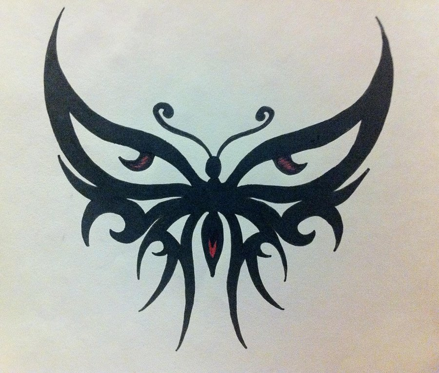 Ultimate Black And Red Color Ink Butterfly Tribal Tattoo Design For Girls
