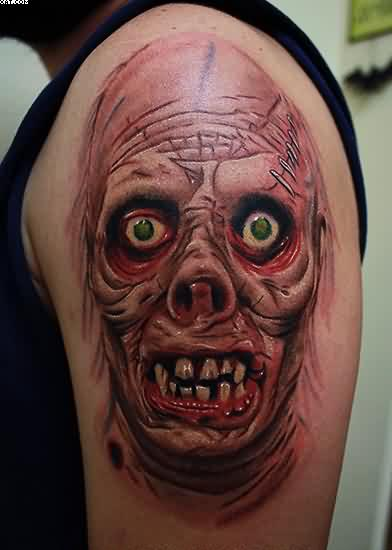 Very Funny Laughing Zombie Tattoo In Biceps