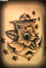 Watch black Color Ink Anchor With Flower & Stars Tattoo For Girls