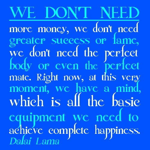 We dont need more money we dont need greater success or fame Dalai Lama