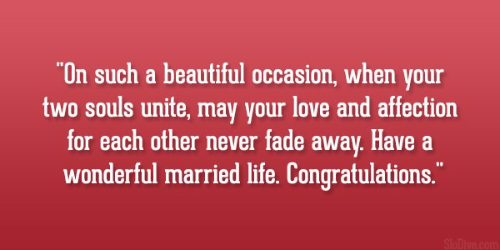Wonderful Married Life Congratulation